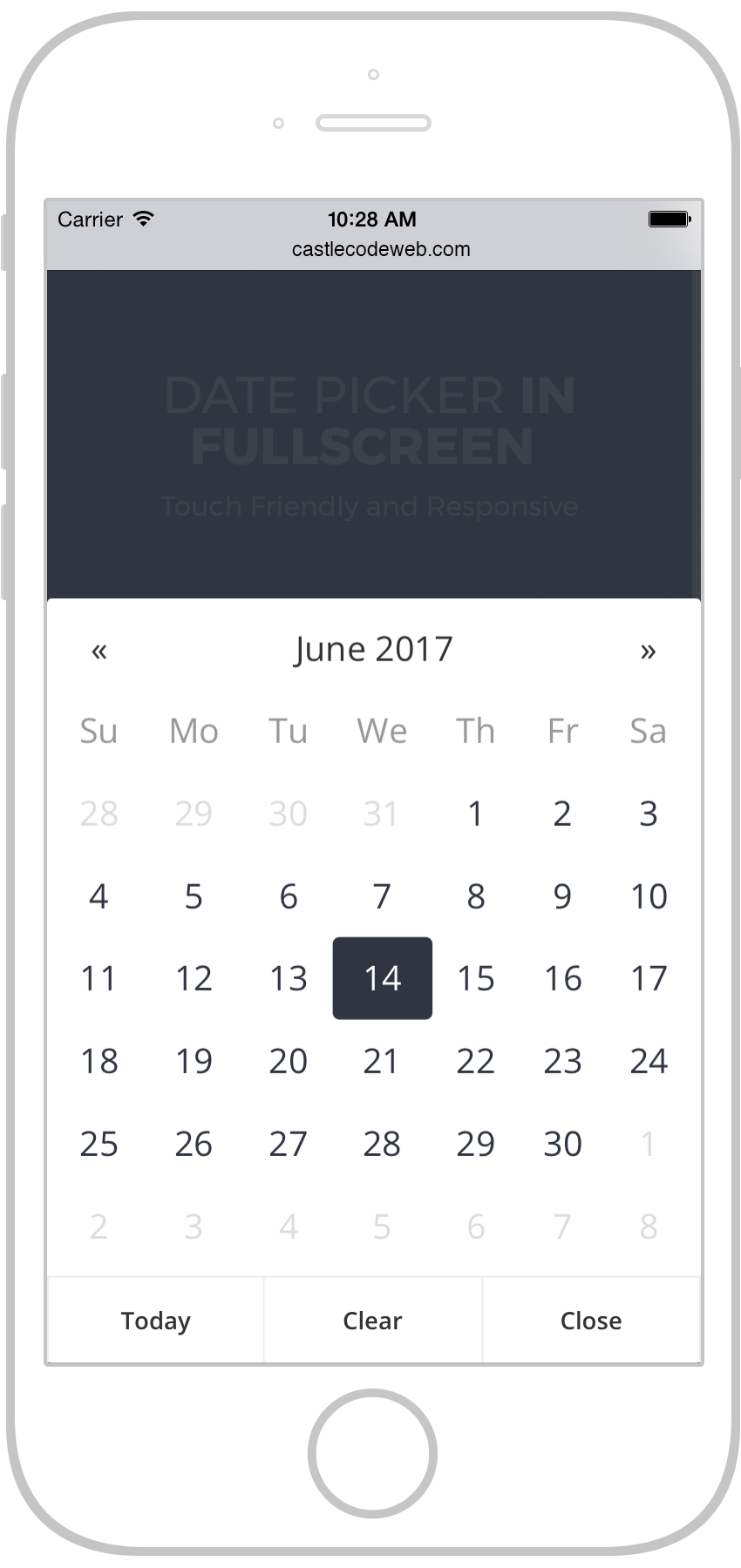Date Picker In Fullscreen | Touch Friendly and Responsive