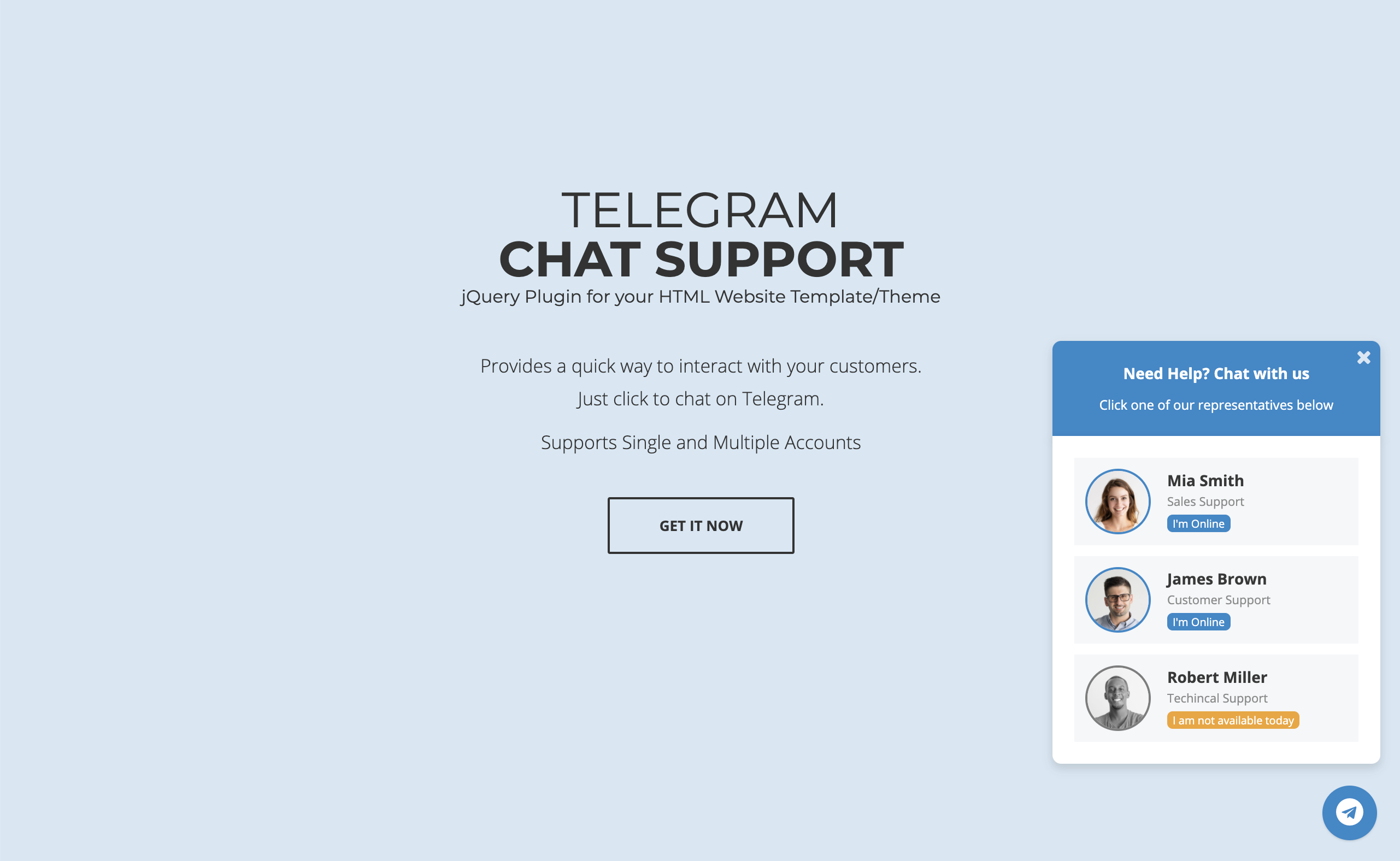 Telegram Chat Support - jQuery Plugin - 2