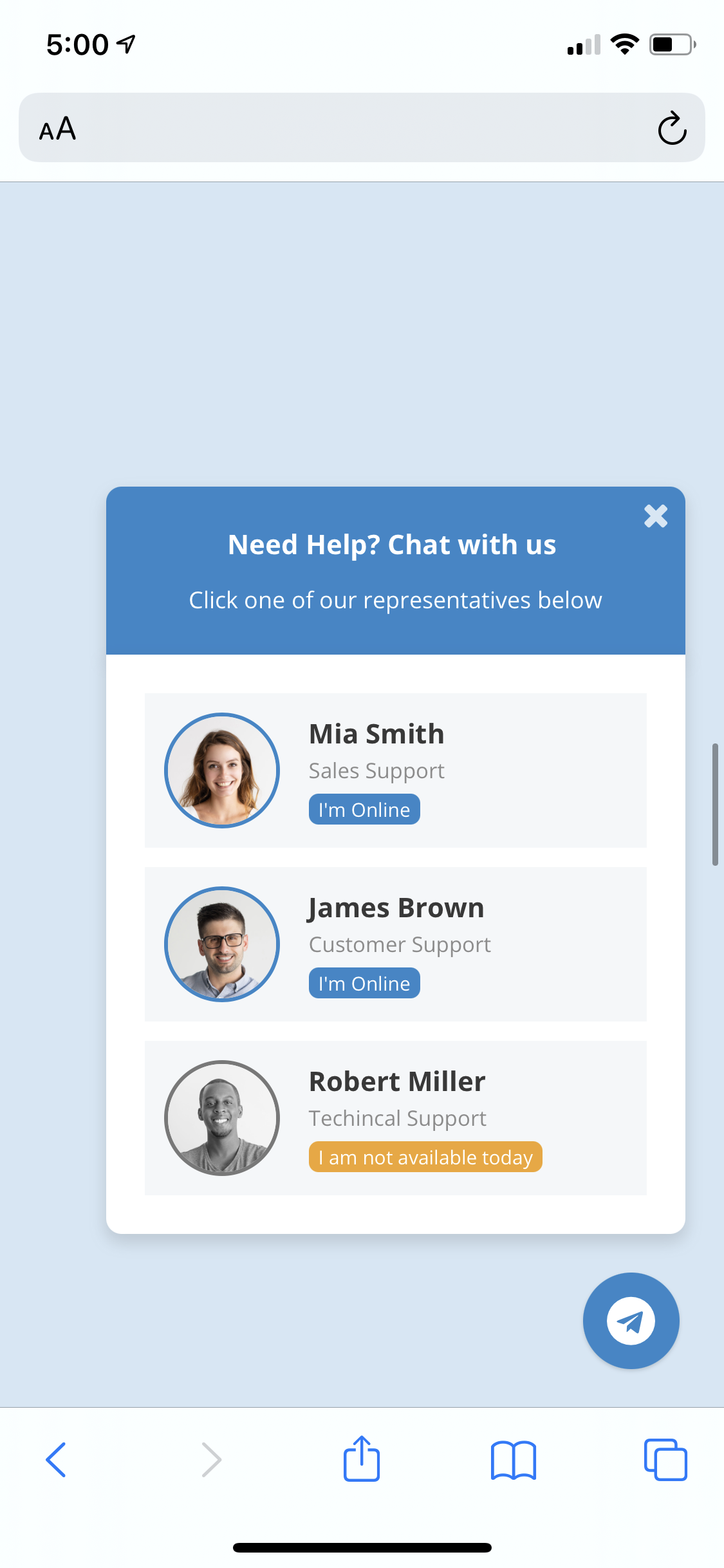 Telegram Chat Support - jQuery Plugin - 1