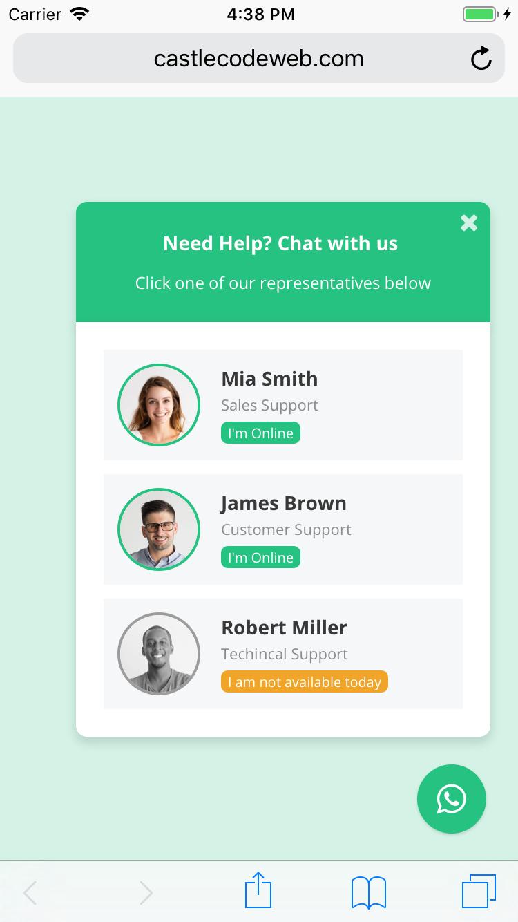 WP WhatsApp Chat Support - WordPress Plugin - 1